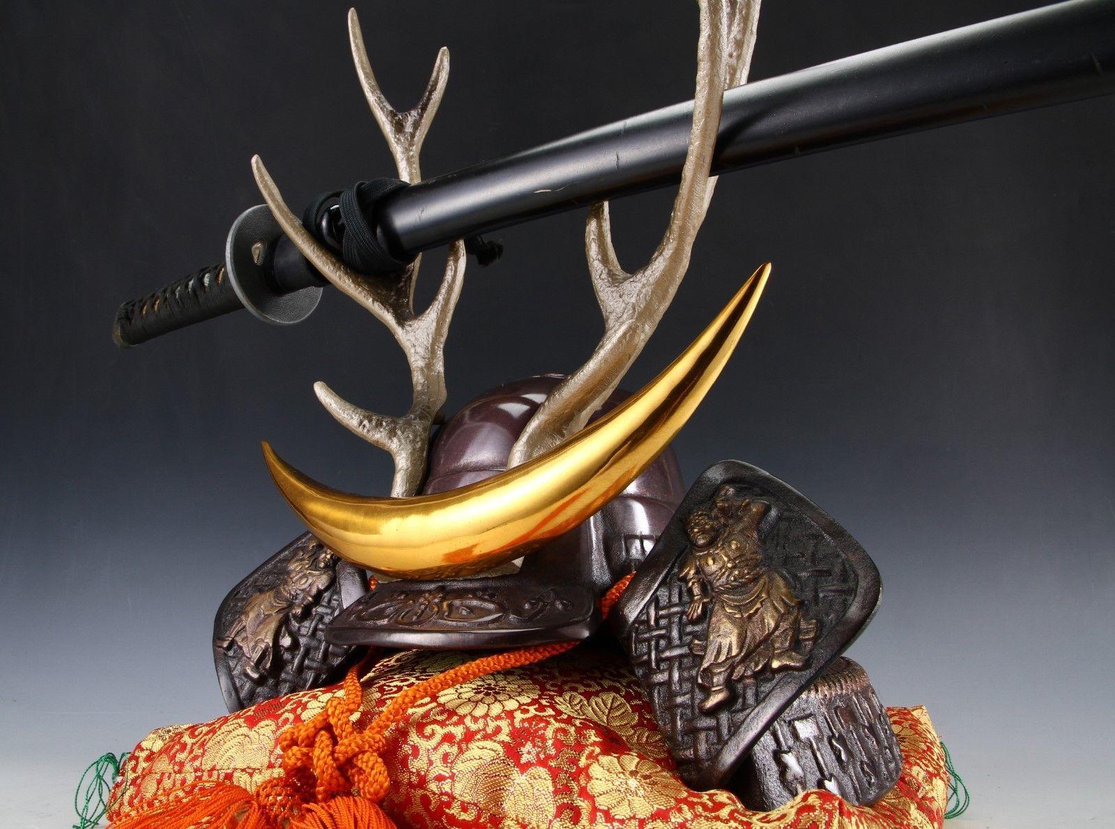 Japanese Beautiful Samurai Helmet -shikanosuke kabuto- with a Replica Blade image 6