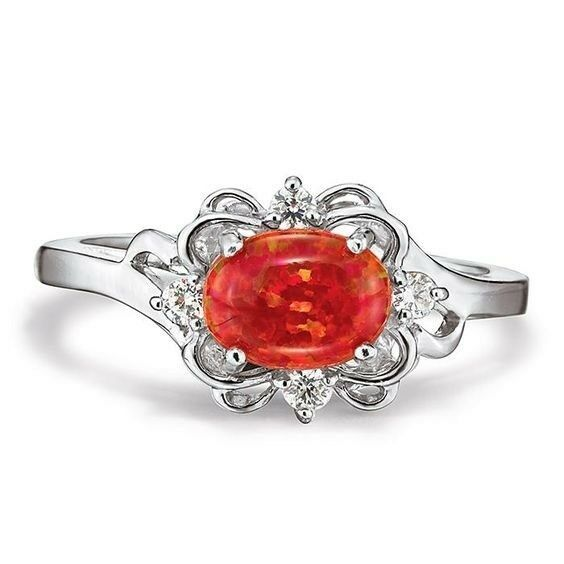 Avon Sterling Silver Simulated Fire Opal Ring Size 6