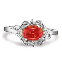 Avon Sterling Silver Simulated Fire Opal Ring Size 6 - $18.99