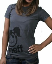 Neff Femmes Charbon Corpa Filles Ventouse Visage Smiley Emoji T-Shirt Nwt image 2