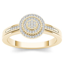 IGI Certified 14k Yellow Gold 0.15 Ct Diamond Double Halo Engagement Ring - $379.99