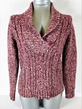 Sonoma Womens Medium L/S Purple Mauve 1 Button Faux Wrap V Neck Sweater (Z) - $27.77