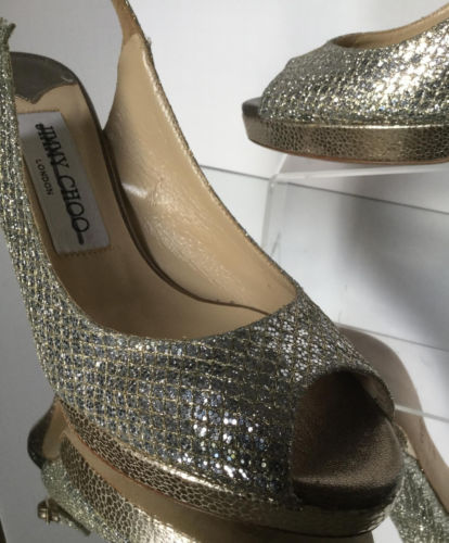 JIMMY CHOO Nova Glitter Platform Slingback Sandals, Champagne (Size 35.5) - $695