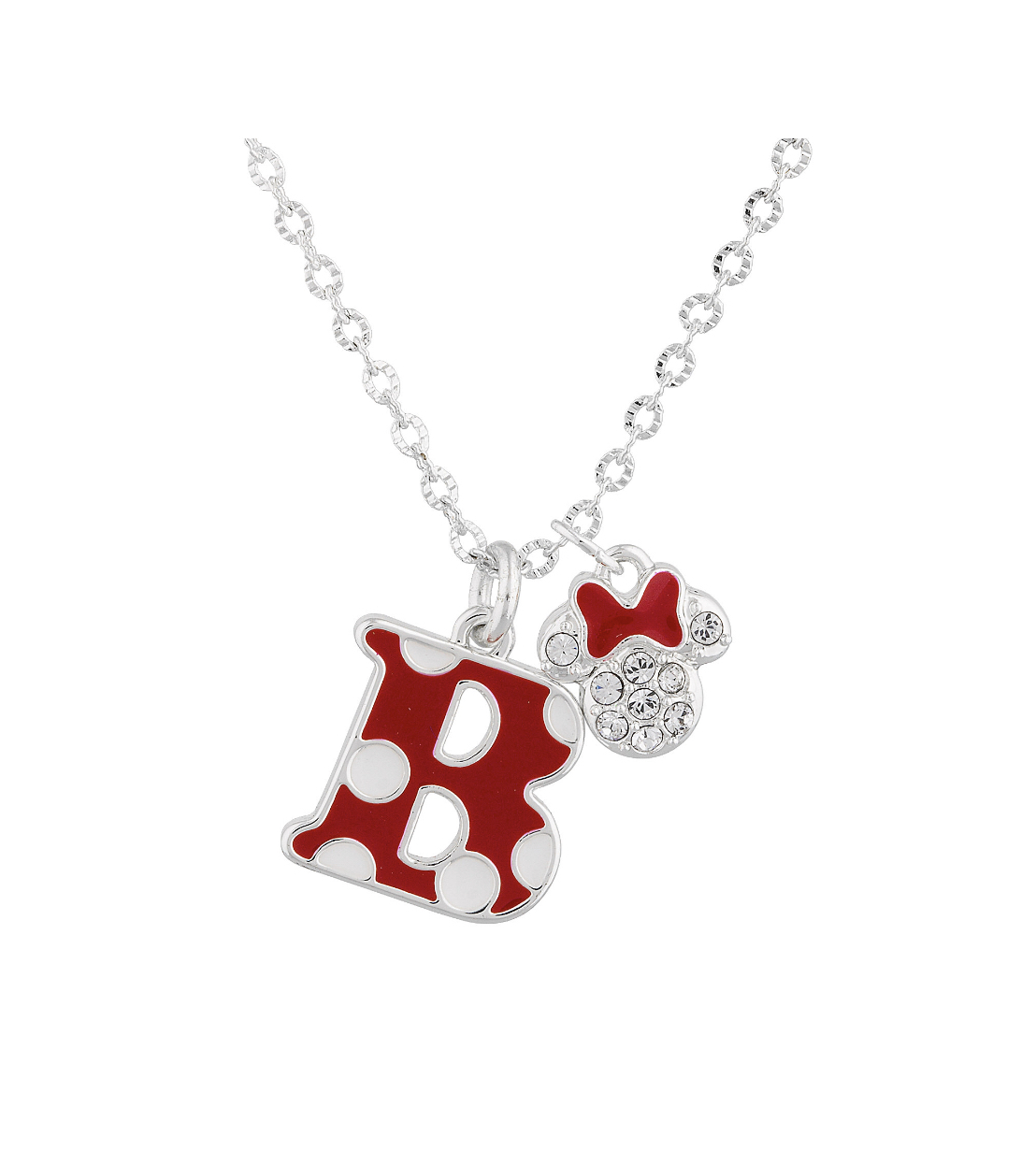 09d7b904ee328 Disney Parks Red Polka Dot Initial Letter B Necklace Swarovski Crystal  Mickey Ch