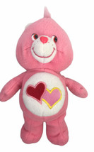 "Care Bears Love a Lot Bear 8"" Plush 2004 Pink with Hearts - $19.80"