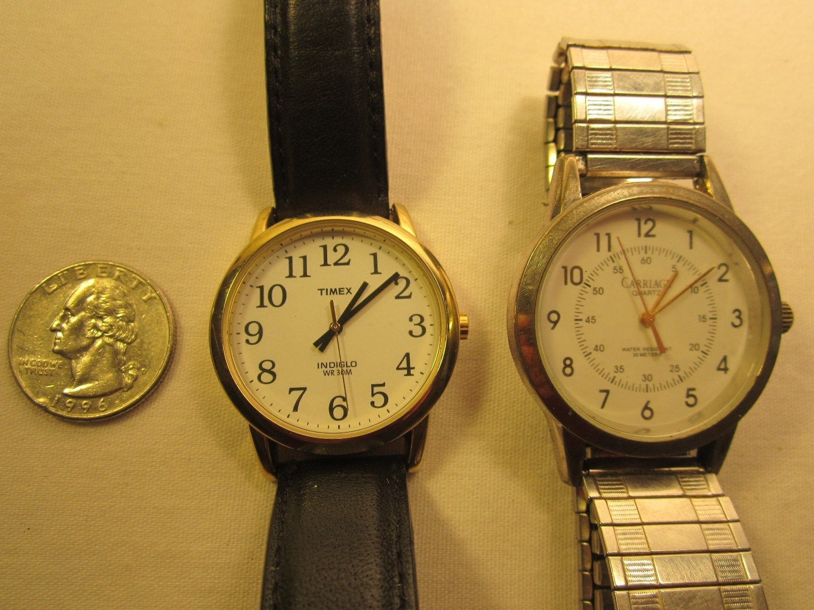 Primary image for (2) Electric ANALOG Men's Wristwatch TIMEX Indiglo & Carriage [h12a4]