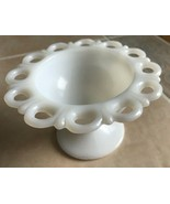 Vintage Anchor Hocking White Milk Glass Footed Compote Old Colony Open Lace - $9.99