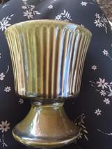 Vintage McCoy Floraline Planter/Vase Green Pede... - $10.50