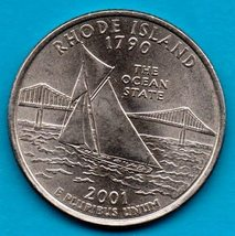 2001 D Rhode Island State Quarter Near Uncirculated   - $1.25