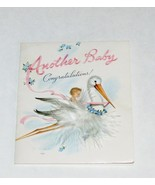 VINTAGE GREETING CARD NEW BABY MARJORIE COOPER REAL FEATHER GLOSSY CARDS USED - €17,53 EUR
