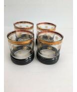 Vintage Mid Century Bar Lowball Rocks Glasses Winter Snowflake Gold Trim... - $49.49