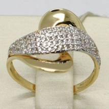 SOLID 18K YELLOW GOLD BAND ZIRCONIA RING, ONDULATE, WAVE, WOVEN, MADE IN ITALY image 1