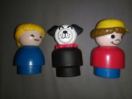 Vintage Fisher Price Little People Chunky Figures Dog Boy Yellow Cap Mom - $9.74