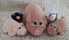 """Pound Piggies Minis by Galoob Pound Puppies 1997 5"""" Mother with Four 3"""" ... - $24.95"""