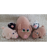 """Pound Piggies Minis by Galoob Pound Puppies 1997 5"""" Mother with Four 3"""" Piglets  - $34.95"""