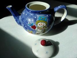 Studio Nova teapot with lid Mikasa Frosty Snowman KT405 blue Christmas h... - $33.66