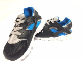 Nike Air Huarache Run TD Trainers Toddlers infant / Baby Shoes Black/Blu... - $30.09
