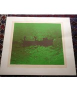 Vtg 1978 Two Fisherman On River Anne K Piland Green Silk Screen Serigrap... - $100.00