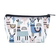 LOKIDVE Women's Cute Llama Makeup Bag Protable Travel Cosmetic Toiletry Case Org