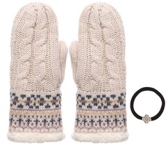 Women's Winter Wool Blend Cable Knitted Mitten Plush Lining Gloves with ... - $19.95