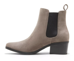 A New Day Women's Microsuede Taupe Ellie Chelsea Cuban Heel Boots Booties NEW image 2
