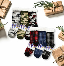 Swan Men's 3 Pack Sherpa-Lined Christmas Winter Slipper Socks with Gift Tags
