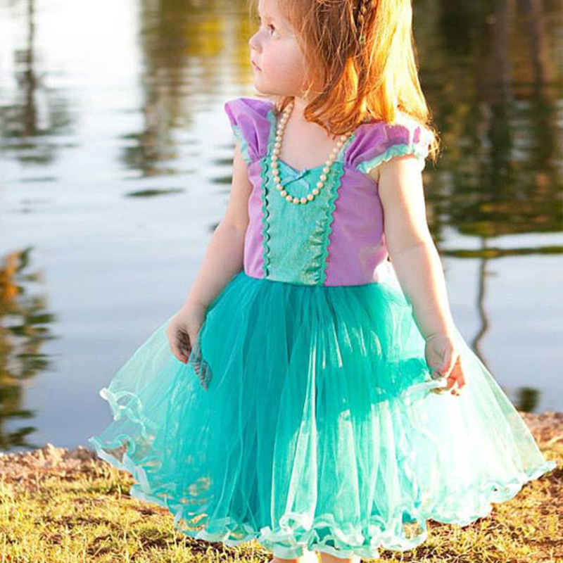 Beauty Cosplay Kids Christmas Dress Long Flower Girl Dress Halloween Party Gown