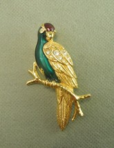 Avon Parrot Pin Brooch Jewelry Bird Animal Goldtone Metal Enamel Rhinestone - $13.37