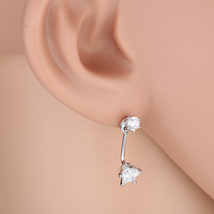 UE- Stylish Silver Tone Star Drop Earrings With Sparkling Faux White Sap... - $10.99