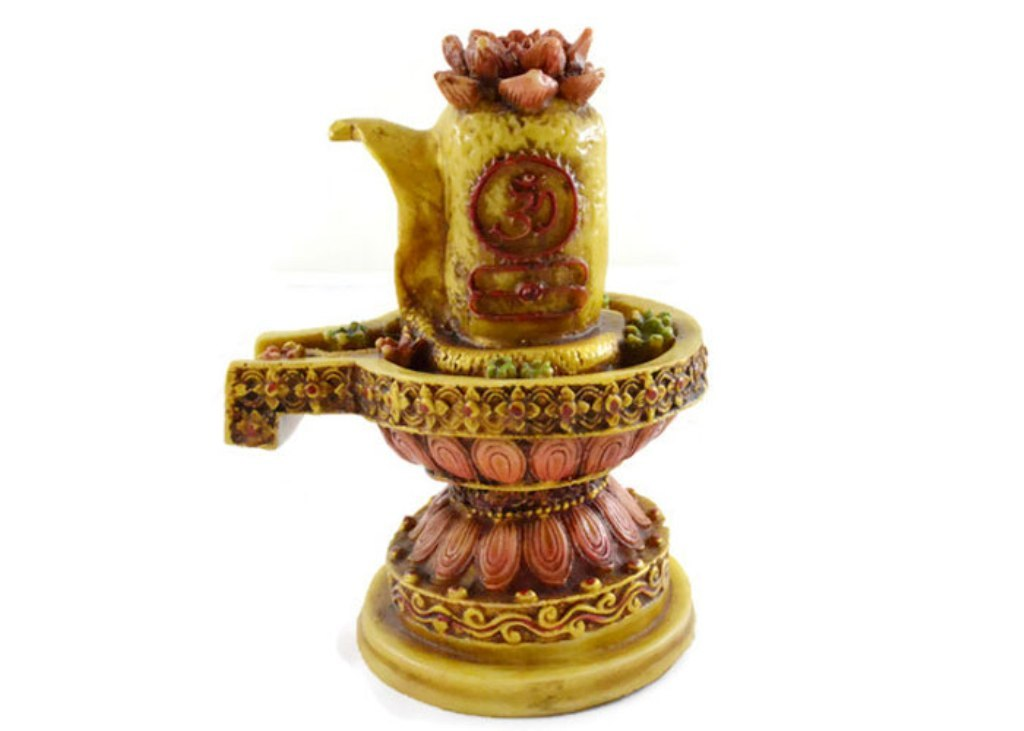 Handmade Hand painted Resin Figurine Sculpture OF Shivling with Snake