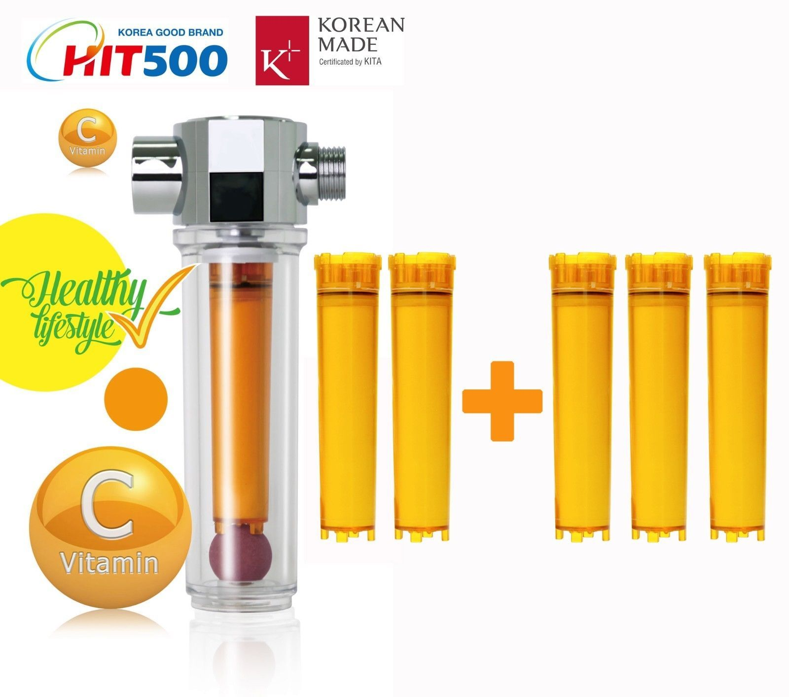 Vitamin C Inline Shower Filter with Filter Cartridge  Vita Fresh Shower Filter