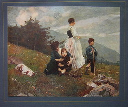 ITALIAN FAMILY Mothers Children Countryside Dog - COLOR Antique Print - $12.15