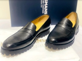 Handmade Men's Black Leather Brogues Style Slip Ons Loafer Shoes image 3