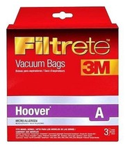 New FILTRETE 3pk Vacuum Bag Style A Topfill Hoover Concept One Uprights 64700A - $7.29