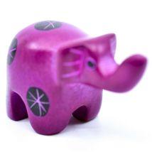 Tabaka Chigware Hand Carved Kisii Soapstone Miniature Fuschia Elephant Figurine image 4