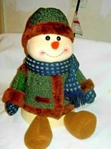 Christmas Holiday SNOWMAN Gift box Plush jingle Bell on Hat - $19.23