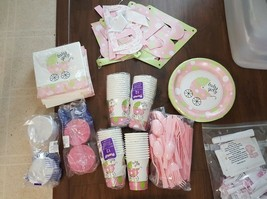 HUGE LOT OF BABY GIRL  BABY SHOWER PARTY ITEMS GAMES CUPS PLATES MORE # - $34.60