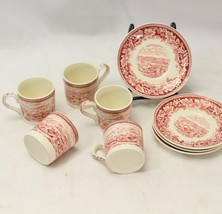 Currier and Ives Red Demitasse 5 Cups 4 Saucers - $68.59