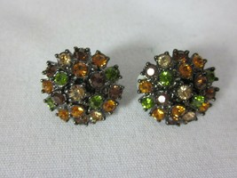 Joan Rivers Clip On Earrings Amber Green Champagne Crystals Cluster - $24.74