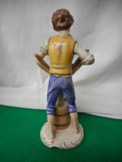 "RARE 1970 GOEBEL BOCHMANN GERMANY FIGURINE FISHERMAN with FISH FR 31 8"" signed"