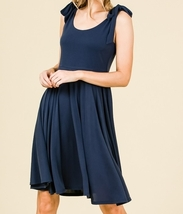 Navy Swing Dress, Navy Circle Skirt Dress, Sleeveless Dress with Empire Waist image 3