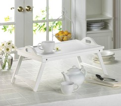 White Folding Serving Tray Portable Breakfast In Bed Table - $29.97
