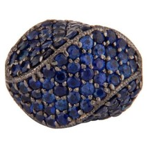 Natural Blue Sapphire Gemstone 925 Sterling Silver Beads Finding Jewelry - $186.12