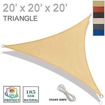 SUNNY GUARD 20' x 20' x 20' Sand Triangle Sun Shade Sail UV Block for Outdoor Pa