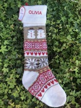 Pottery Barn Natural Fair Isle Snowman Christmas Stocking Red,Olivia Monogram - $24.70
