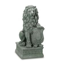Verdigris Lion Guardian Entryway Porch Sidewalk Statue - $106.87