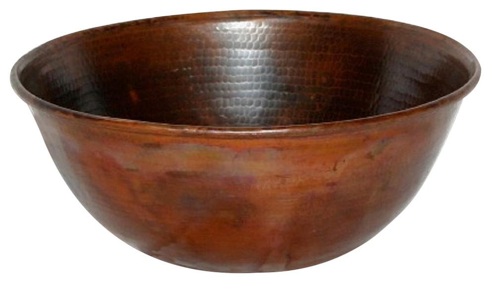 "14""  Rustic Round Hand Hammered Copper Vessel Vanity Sink"