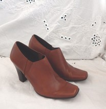 Nine West Zingingo Brown Leather Heels Sz 7 1/2 - $9.13