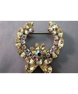 VTG Weiss Wreath Flower Brooch AB Rhinestones Gold Plated Prong Set Nave... - $29.69