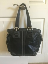 COACH SOHO LARGE BLACK LEATHER ROOMY POCKETED TOTE SHOPPER ZIP TOP EUC #... - $58.00